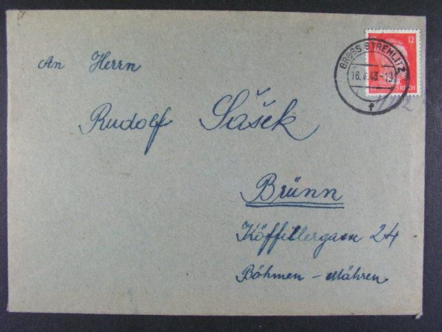 Gross Strehlitz - dopis v?. obsahu do Brna, frank. zn. 12pf A.H., pod. raz. GROSS STREHLITZ 16.6.43