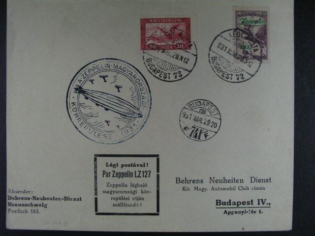 Ma?arsko - celistvost frank. zn. Mi. ?. 474 + 479, pod. raz. LÉGIPOSTA BUDAPEST 72 29.3.1931 + modrý kulatý kašet A. ZEPPELIN..., p?ích. raz.
