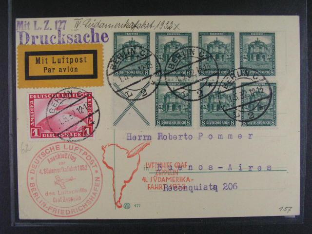 N?mecko - celistvost do Buenos Aires frank. zn. Mi. ?. 455 + HB 70, pod. raz. BERLIN 1.5.32, dva kašety 4. SAF 1932, p?ích. raz., lux. kvalita, dekorativní