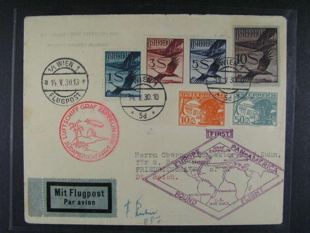 Rakousko - celistvost p?epravena SAF 1930, vysoká frankatura, mj. 3, 5 a 10Sch, ?ervený a fialový let. Kašet, p?ích. raz.