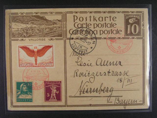 Švýcarsko - celina dofrank. mj. zn. Mi. ?. 190, pod. raz. ST. GALLEN 2.11.29 LUFTPOST + ?ervený let. kašet LZ 127 SCHWEIZERFKLUG