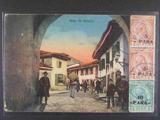 bar. pohlednice Duirazzo frank. na p?ední stran? dvoupáskou zn. Mi. ?. 41, 42 s modrým pod. raz. DURACO 28.4.1914