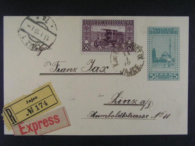 R-EXPRES celina 5h dofrank. zn. krajinky 50h (1906) zaslaná do Lince, pod. raz. K.u.K. MP IX  JAJCE 11.1.10, p?ích. raz. LINEC, kat. Ferchenbauer LP