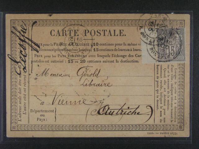 KL do Vídn? frank. zn. Mi. ?. 61 I s levým okrajem, tzv. falešný kupon, pod. raz. PARIS 16.OCT.1877