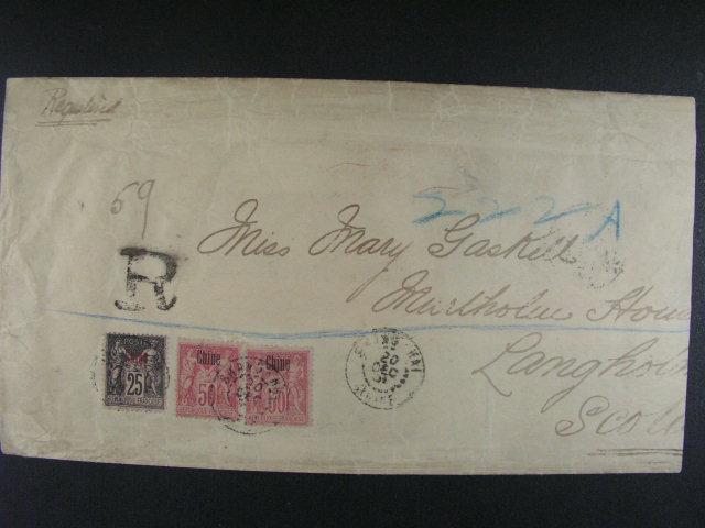 pošta v ?ín? - R-dopis do Skotska frank. zn. Mi. ?. 5 + 8 (2x), pod. raz. SHANGHAI 20.DEC.01, pr?ch. a p?ích. raz.