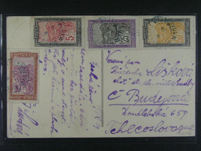 Kolonie - sestava 4 ks r?zných pohlednic z let 1911 - 29 (Maroko, Senegal, Reunion, Madagaskar), pestré zajímavé frankatury