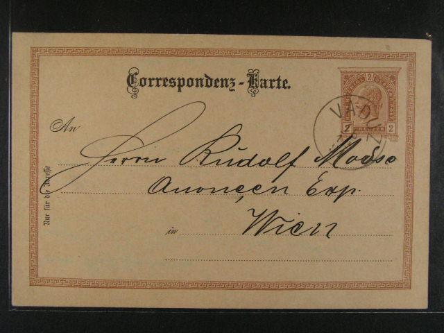 rak. KL 2kr F.J. do Vídn? s pod. raz. VADUZ 18.12.1891, velmi dobrá kvalita