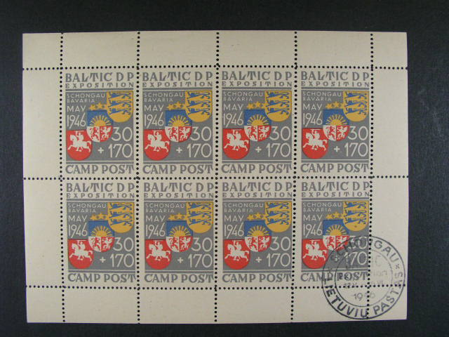 exilové vydání v 8mi-známkových TL VALTIC D P EXPOSITION 1946, 1x s raz. LIETUDIU PASTAS SCHONGAU 1946