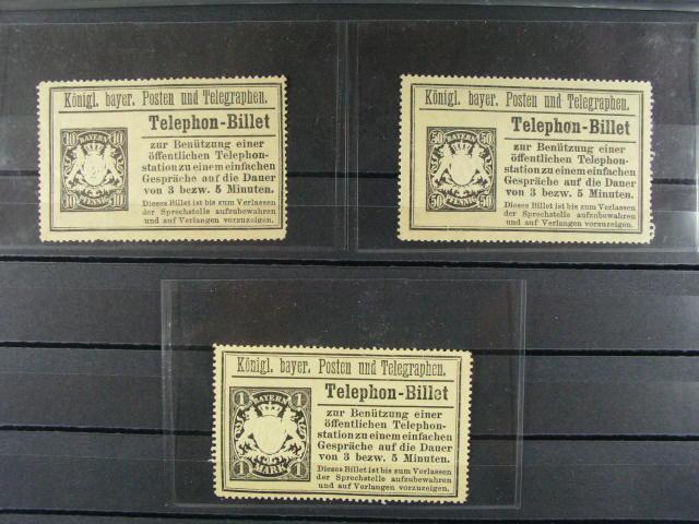 Bavorsko - Telephon-Billet vydání 1894 10pf, 50pf, 1M na žlutém papí?e s pr?svitkou, 470 EUR