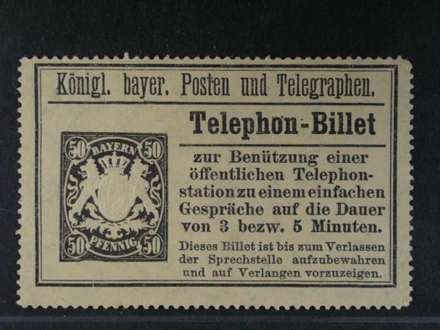 Bavorsko - Telephon-Billet vydání 1894 50pf na žlutém papí?e s pr?svitkou, 175 EUR