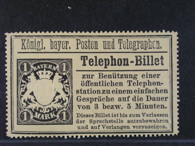 Bavorsko - Telephon-Billet vydání 1894  1M na žlutém papí?e s pr?svitkou, 200 EUR