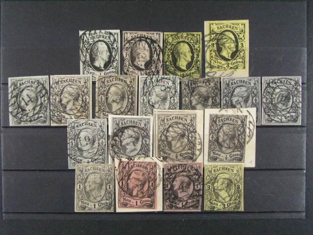 Sachsen - sestava 14 ks zn. a p?t. výst?ižk? z let 1851 - 56, zajímavá raz.