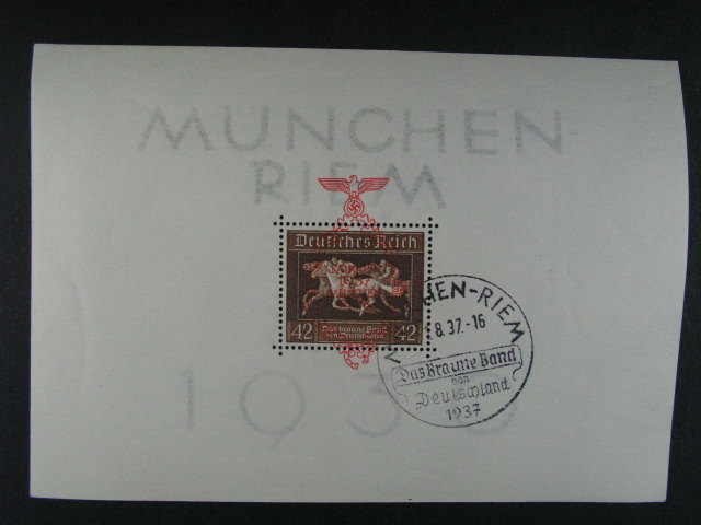 Bl. Mi. 4 a Bl. 10 s pam. raz. MÜNCHEN - RIEM, Das Braune Band ... 1936, resp. 1937, 150 EUR