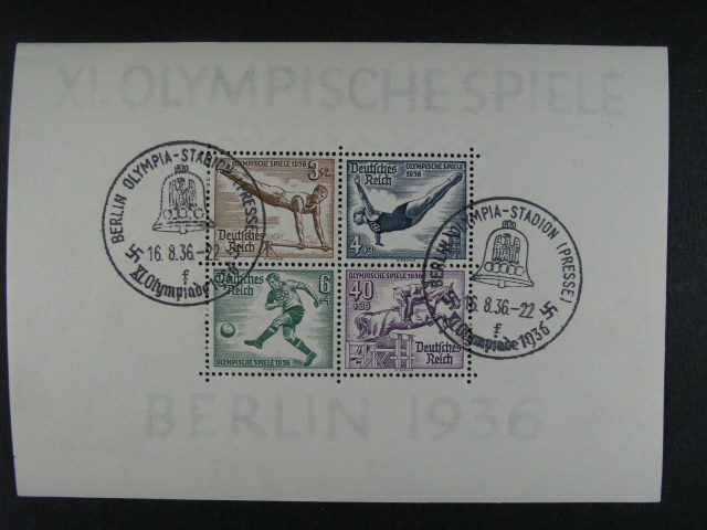 Bl. Mi. 5 + 6 se zn. Mi. ?. 624 - 31 s pam. raz. BERLIN OLYMPIA-STADION (PRESSE) 16.8.36, 130 EUR