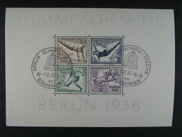 Bl. Mi. 5 - 6 se zn. Mi. ?. 624 - 31 s pam. raz. BERLIN OLYMPIA-STADION 1.8.36, 130 EUR