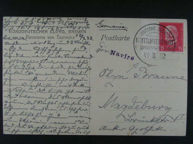 oficielní pohlednice Norddeutscher Lloyd, Bremen ... do Magdeburgu s podacím lodním raz. DEUTSCHE SEEPOST M TTELMEERGFAHRT ... LLOYD 12.3.32, dobrá kvalita