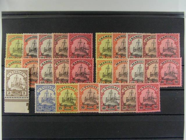 Deutsch - S.W.A. - zn. Mi. ?. 15 - 19, Kamerun Mi. 11 - 15, Karolinen Mi. 11 - 15, Marianen Mi. 11 - 15, Togo Mi. 10 - 15, cca 180 EUR