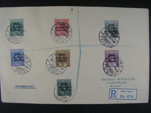 Togo - R-dopis do Švýcarska frank. zn. Gold Coast s p?etiskem TOGO ANGLO - FRENCH OCUPATION. pod. raz. LOME 16.AP.1919, pr?ch. a p?ích. raz., dobrá kvalita