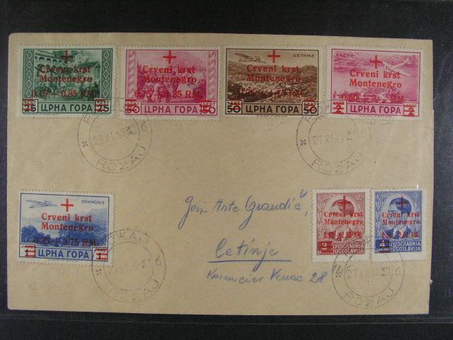 ?erná Hora (Montenegro) - dopis s filatelistickou frankaturou zn. Mi. ?. 29 - 35, zaslaný do Rožaje, kat. na dopise (Satzbrief) uvádí 2000 EUR