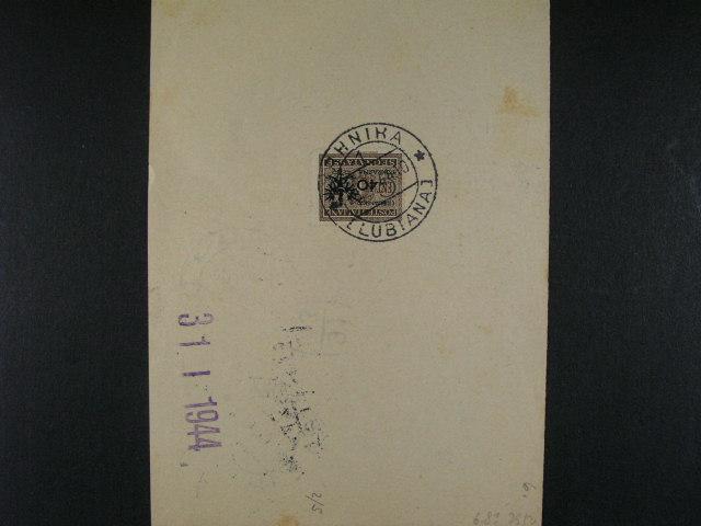Laibach - šeková poukázka frank. ma zadní str. doplatní zn. Mi. ?. 6 s raz. LUBIANA 31.1.44