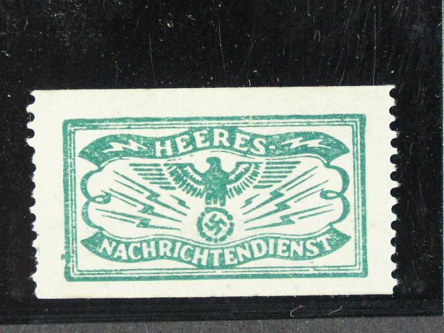 nálepka armádní zpravodajské služby používaná jako zálepka na telegramy v rámci armády