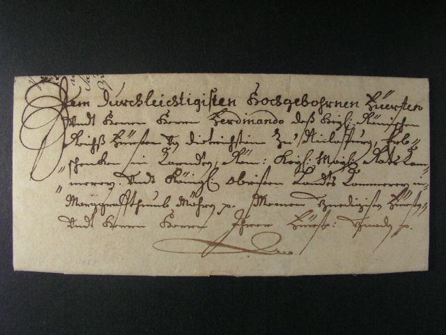 skl. šlechtický dopis z r. 1657 se zdvo?ilostní adresou, lux. kvalita