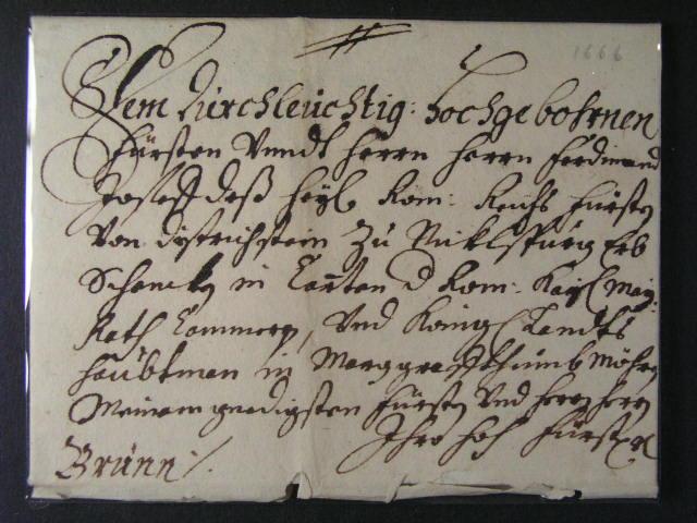skl. šlechtický dopis malého formátu z r. 1666 do Brna, lux. kvalita