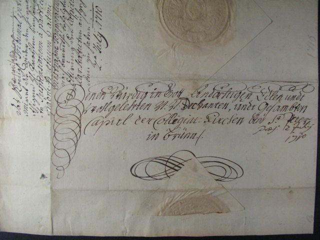 skl. císa?ský dopis - Josef I., z r. 1710 s cís. pe?etí bez podpisu