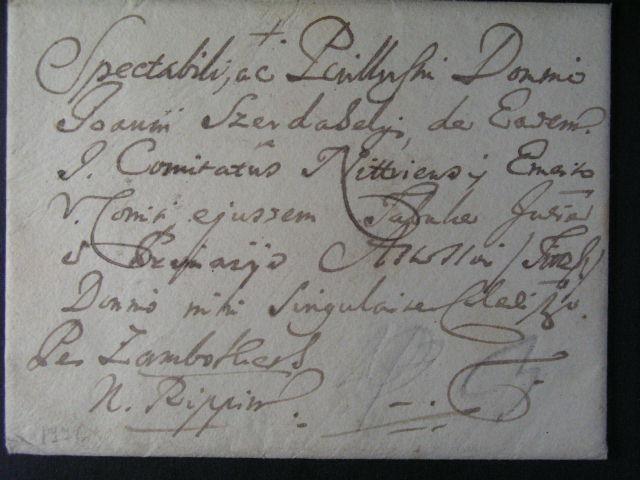 obálka malého formátu v?. obsahu z r. 1766 se zdvo?ilostní adresou, nepoušená pe?e?, velmi dobrá kvalita