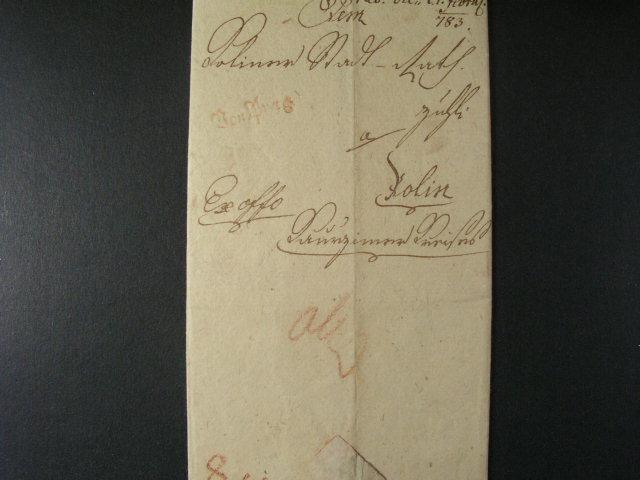 skl. dopis z r. 1783  s ?erveným ?ádkovým raz. Von Prag