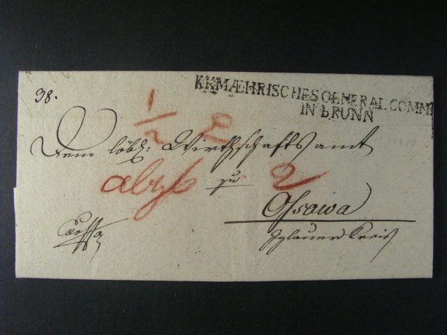 skl. vojenský dopis z r. 1807 do Osové Bytýšky s ?ádkovým raz. K.K. MAEHRICHES GENERAL COMMANDO IN BRÜNN, dobrá kvalita
