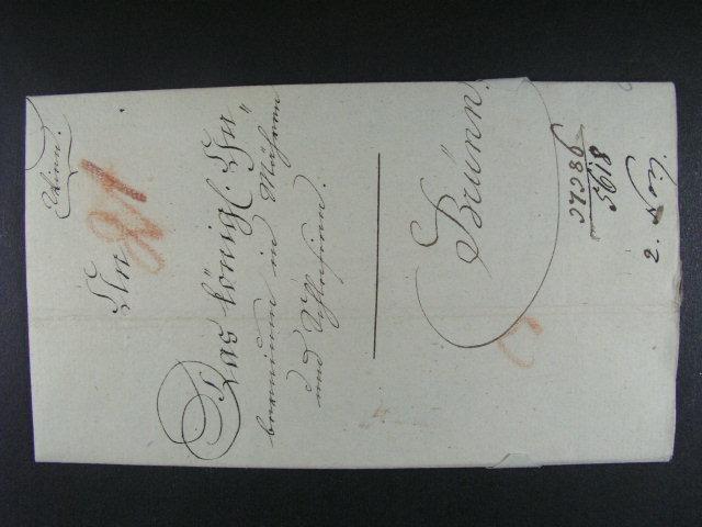 skl. dopis do Brna z r. 1827 se zdvo?ilostní adresou, dobrá kvalita