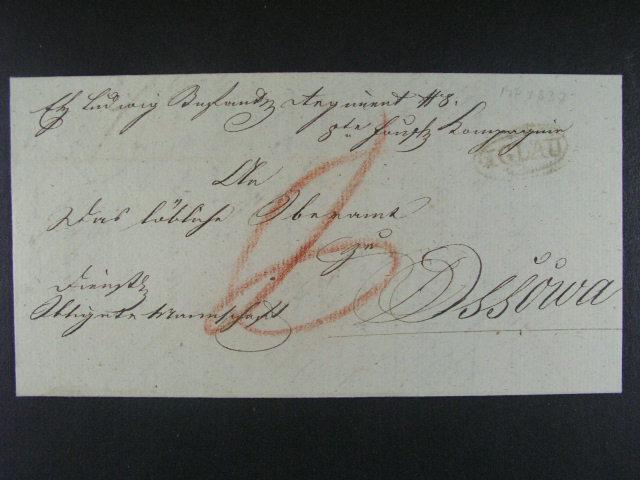 skl. vojenský dopis z r. 1837 do Osové Bytýšky s pod. ?erným oválným raz. IGLAU