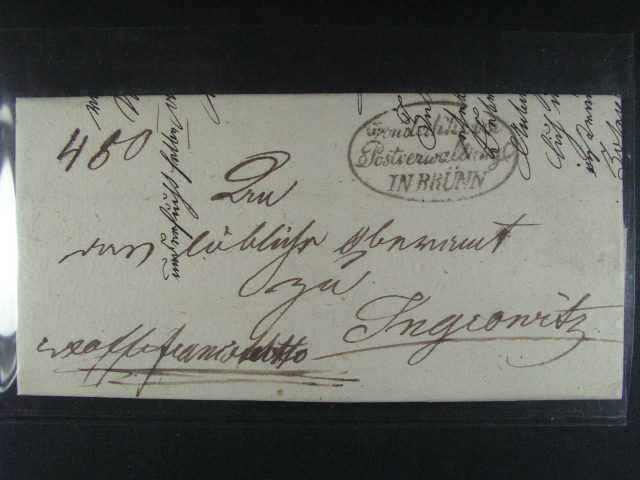 skl. dopis z r. 1837 s ú?edním oválným raz. K.K. Ober Postverwaltung ina Brünn, Vot. C 275 ?.: 1848, lux. kvalita