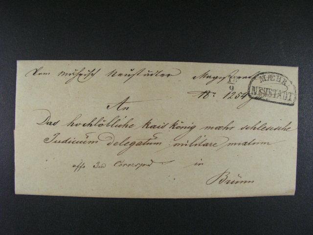 skl. služ. dopis z r. 1845 do Brna  s ?erným  raz. MAEHR. NEUSTADT