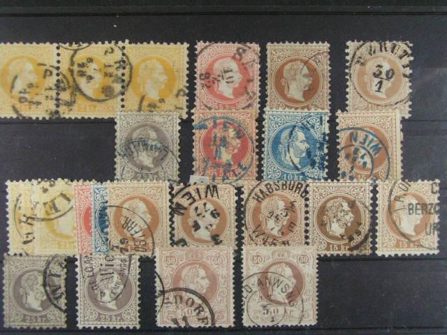 sestava 24 ks zn. 6. emise 1867, mj. 3x 25kr, 2x 50kr, r?zné bar. odstíny, barevná raz., zoubkovávní, cca 600 EUR