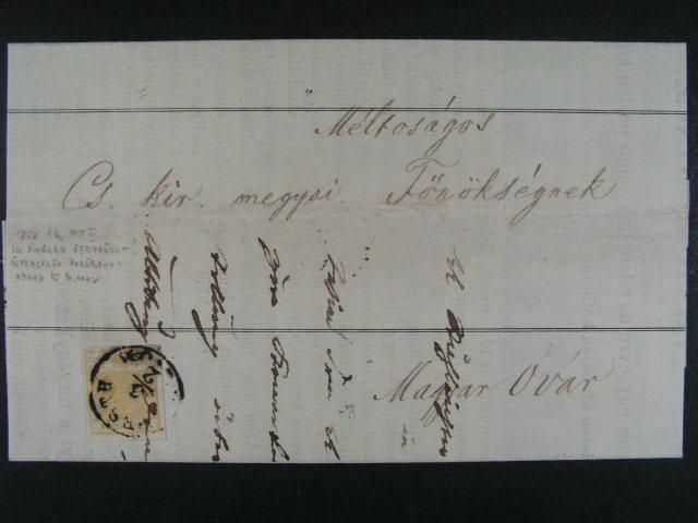 skl. dopis frank. zn. Fe. ?. 1 okrgelb, pod. raz. PESTH 3.2., 600 EUR