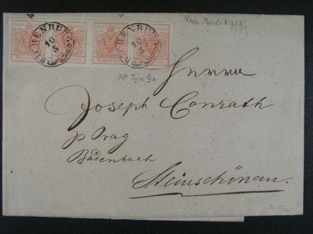 skl. dopis z r. 1853 frank. vodorovnou ?ty?páskou zn. Fe. ?. 3, typ IIIa HP, pod. raz. RICHENBURG 10.5., pr?ch. a p?ích. raz.