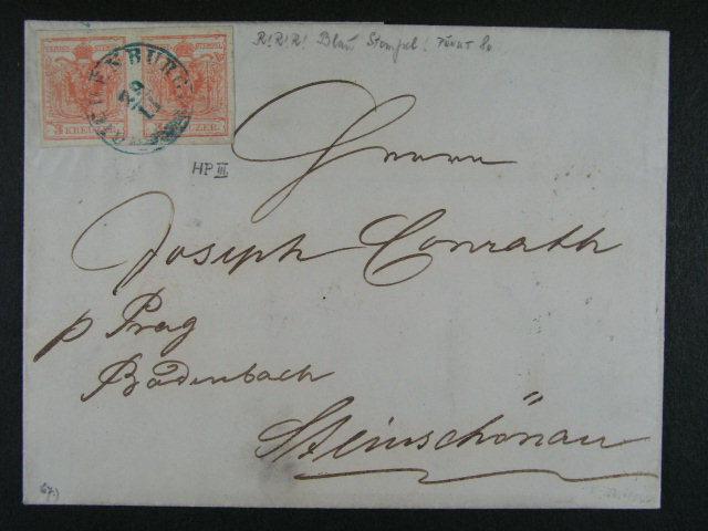 skl. dopis z r. 1854 frank. vodorovnou dvoupáskou zn. Fe. ?. 3, typ III HP s modrým raz. RICHENBURG 29.11., 1500 EUR
