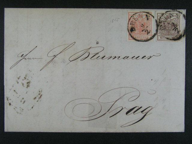 skl. dopis z r. 1855 frank. zn. Fe. ?. 3 + 4, pod. raz. BRÜNN 9.2.
