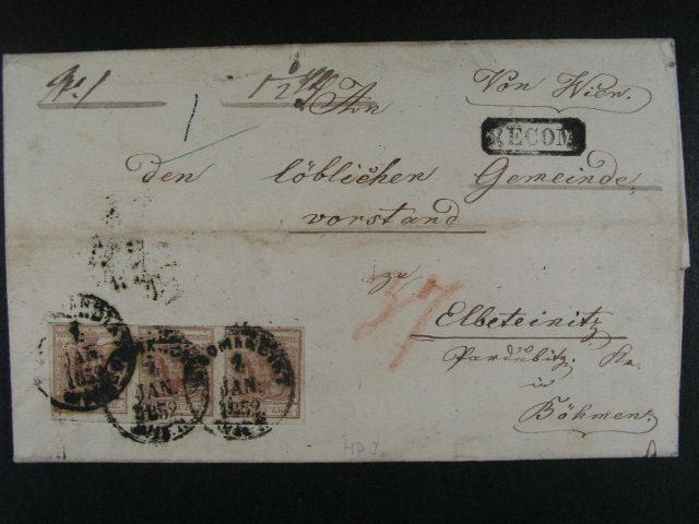 skl. R-dopis z r. 1852 frank. vodorovnou t?ípáskou zn. Fe. ?. 4 HP, typ I, pod. raz. RECOMANDIRT 1.JAN.1852 WIEN, p?íd. ráme?. raz. RECOM, pr?ch. a p?ích. raz., cca 1800 EUR