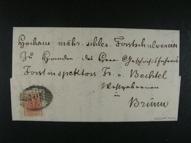 skl. dopis do Brna z r. 1853 frank. zn. Fe. ?. 3 HP, typ IIIa s levým okrajem 4 mm, pod. raz. AUSSEE MAEHREN 21.3. (Müller 114a, 180 bod?), p?ích. raz., neporušená pe?e?, zk. Ferchenbauer