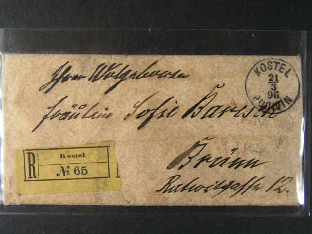 obálka malého formátu RECO do Brna, frank. na zadní stran? zn. Mi. ?. 56, pod. raz. KOSTEL PODIVÍN 21.3.1896, p?ích. raz., dobrá kvalita
