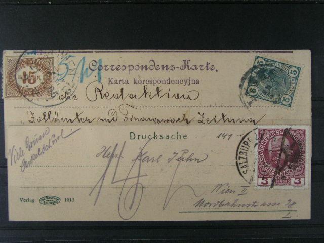 KL frank. zn. Mi. ?. 122, dofrank. dopl. zn. 15h a jednobar. pohlednice malého formátu 44 x 140 mm frank. zn. Mi. ?. 141, zajímavé