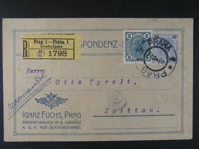 firemní R-KL do Svitav frank. zn. Mi. ?. 122, 126, pod. raz. PRAHA 6.7.1906, dobrá kvalita