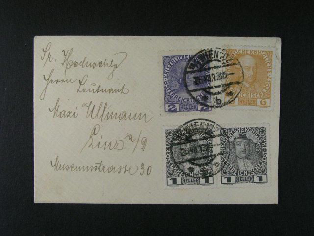t?i dopisy malého formátu (1x R-EXPRES) frank. zn. Mi. ?. 139 - 43, 194, 224, zajímavá raz., p?episy