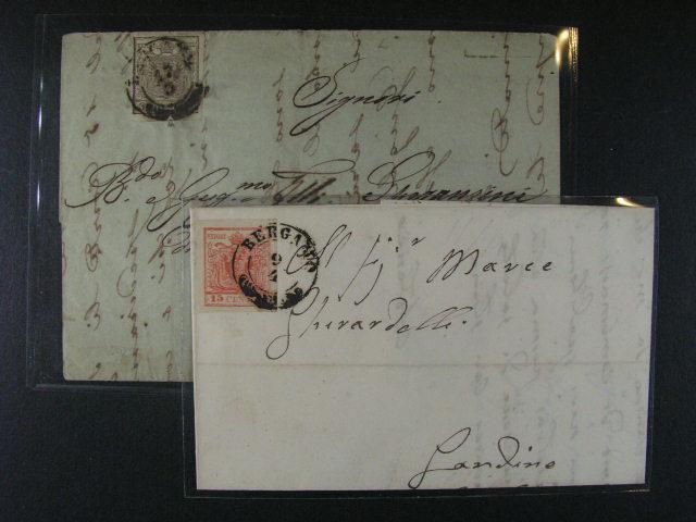 dkl. dopis z r. 1853 frank. zn. Fe. ?. 3, typ III MP, a skl. dopis frank. zn. Fe. ?. 4, oba s raz. BERGAMO