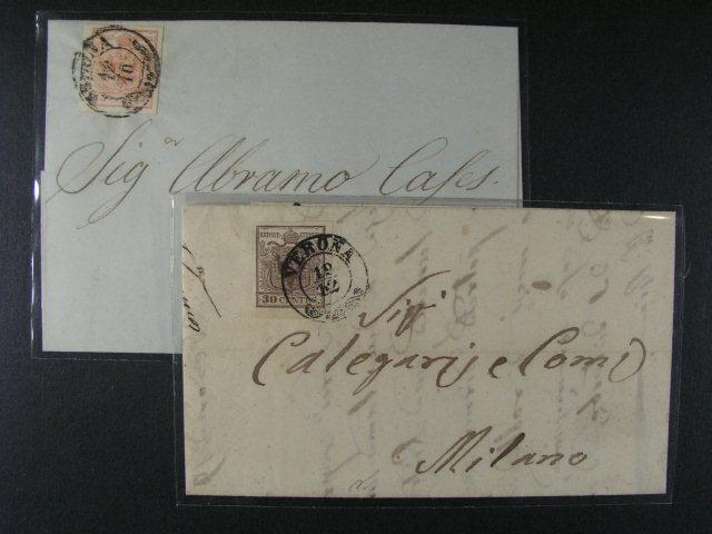 skl. dopis z r. 1856 frank. zn. Fe. ?. 3 a skl. dopis z r. 1853 frank. zn. Fe. ?. 4, oba s dvoukruh. raz. VERONA