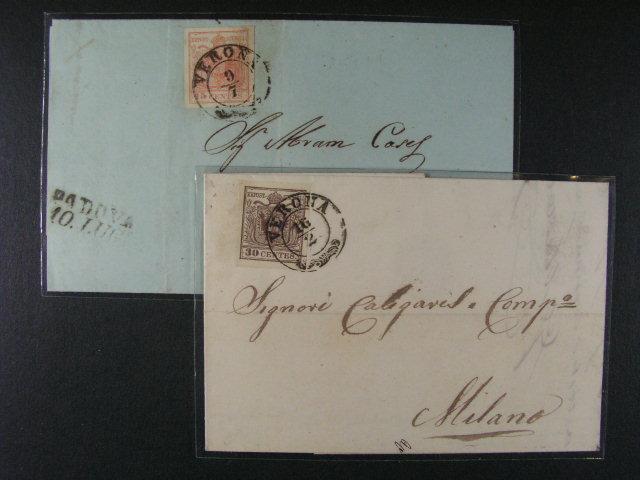 skl. dopis z r. 1855 frank. zn. Fe. ?. 3 a skl. dopis z r. 1853 frank. zn. Fe. ?. 4, oba s pod. raz. VERONA, dobrá kvalita