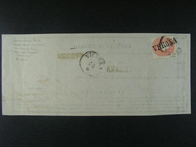 zpáte?ní recepis frank. zn. 5soldi vydání 1860/61 s ?ádk. raz. VERONA + kulaté raz. VICENZA